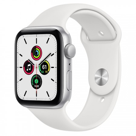 Apple Watch SE 44mm Silver with White Sport Band