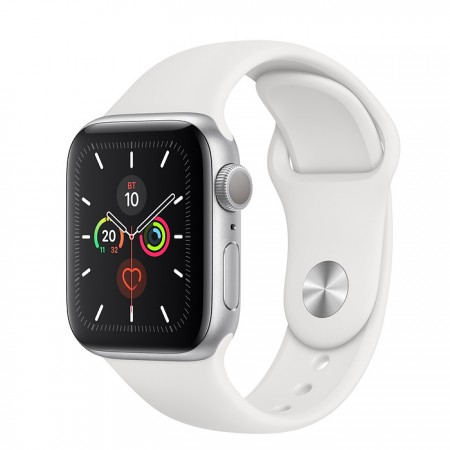 Apple Watch Series 5 GPS 40mm Silver with White Sport Band