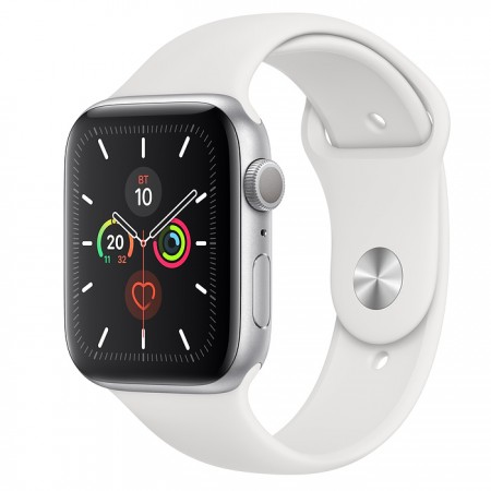 Apple Watch Series 5 GPS 44mm Silver with White Sport Band