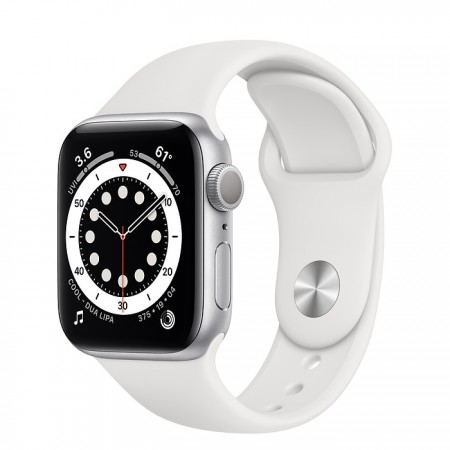 Apple Watch Series 6 40mm Silver with White Sport Band