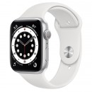 Apple Watch Series 6 44mm Silver with White Sport Band